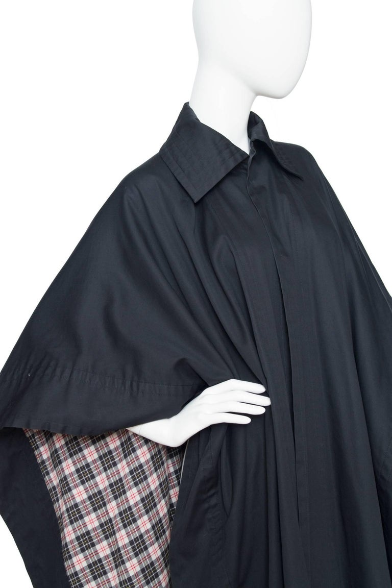 Black 70s Yves Saint Laurent Rive Gauche Cotton Cape  For Sale