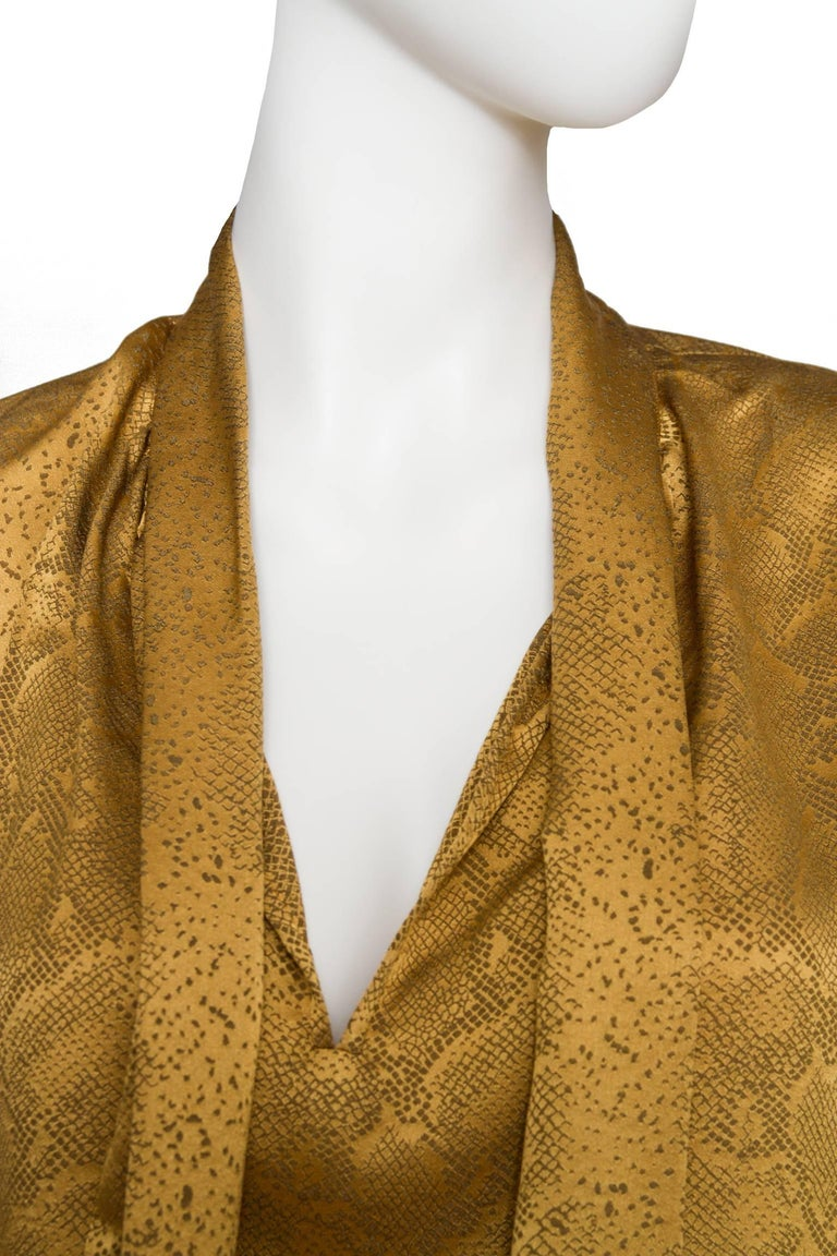 A  Vintage Yves Saint Laurent Gold Python Print Bow Collar Silk Blouse For Sale 2
