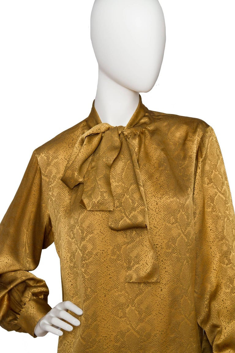 A  Vintage Yves Saint Laurent Gold Python Print Bow Collar Silk Blouse In Good Condition For Sale In Copenhagen, DK