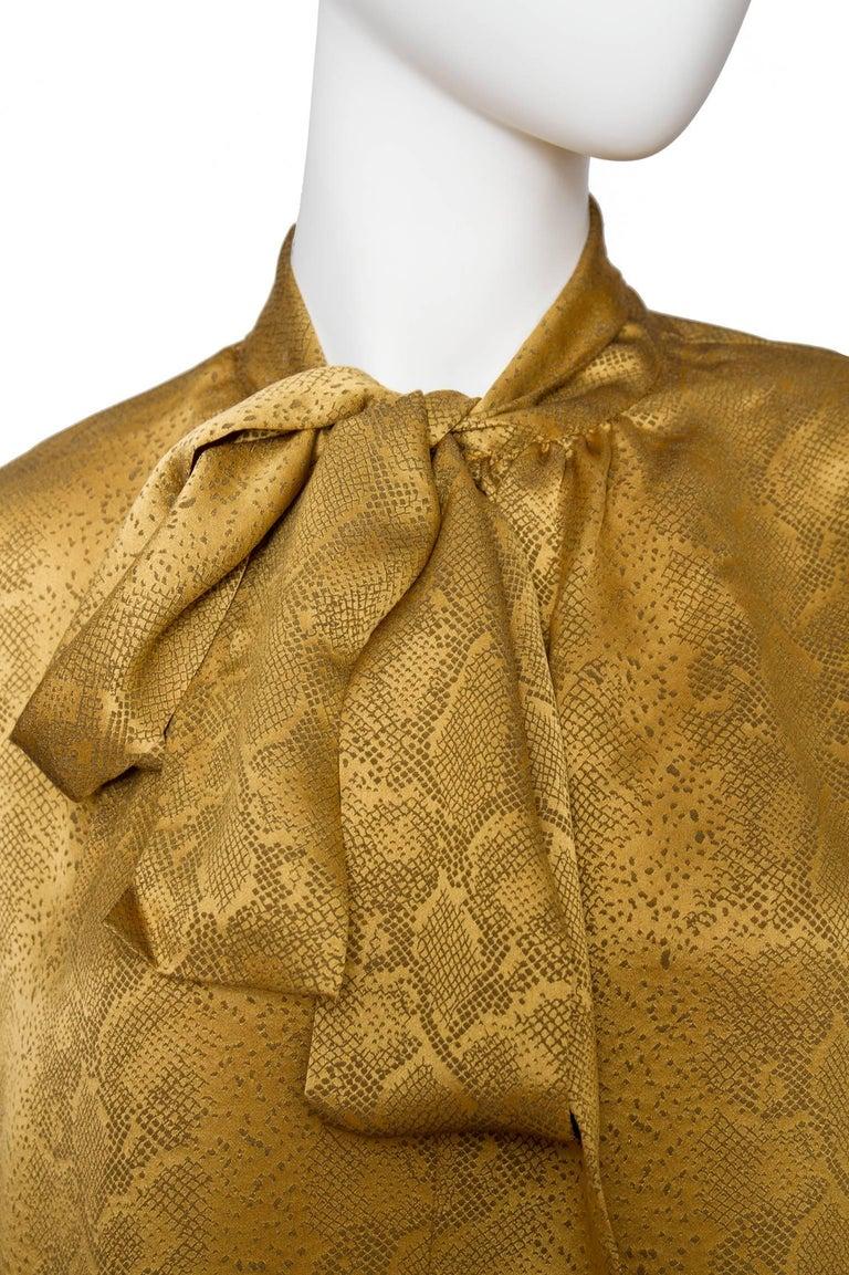 Women's or Men's A  Vintage Yves Saint Laurent Gold Python Print Bow Collar Silk Blouse For Sale
