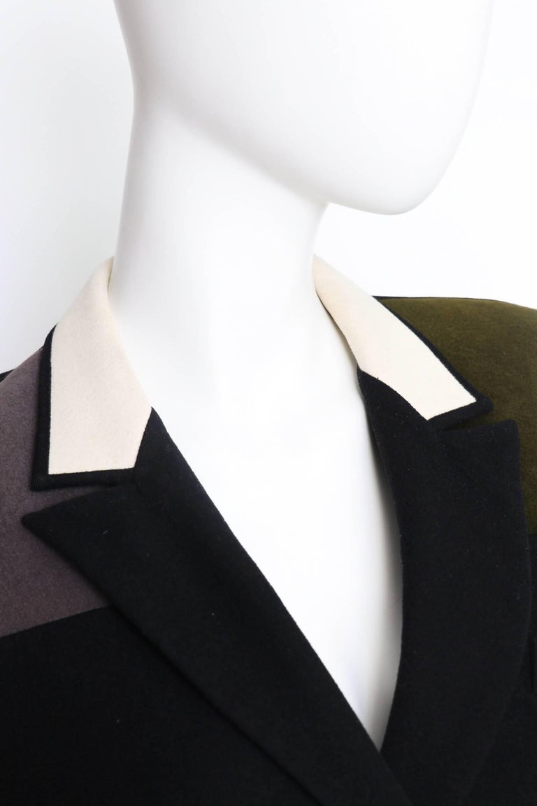 A 1980s Vintage Yohji Yamamoto Wool Blazer with Contrast Panels XS In Good Condition For Sale In Copenhagen, DK