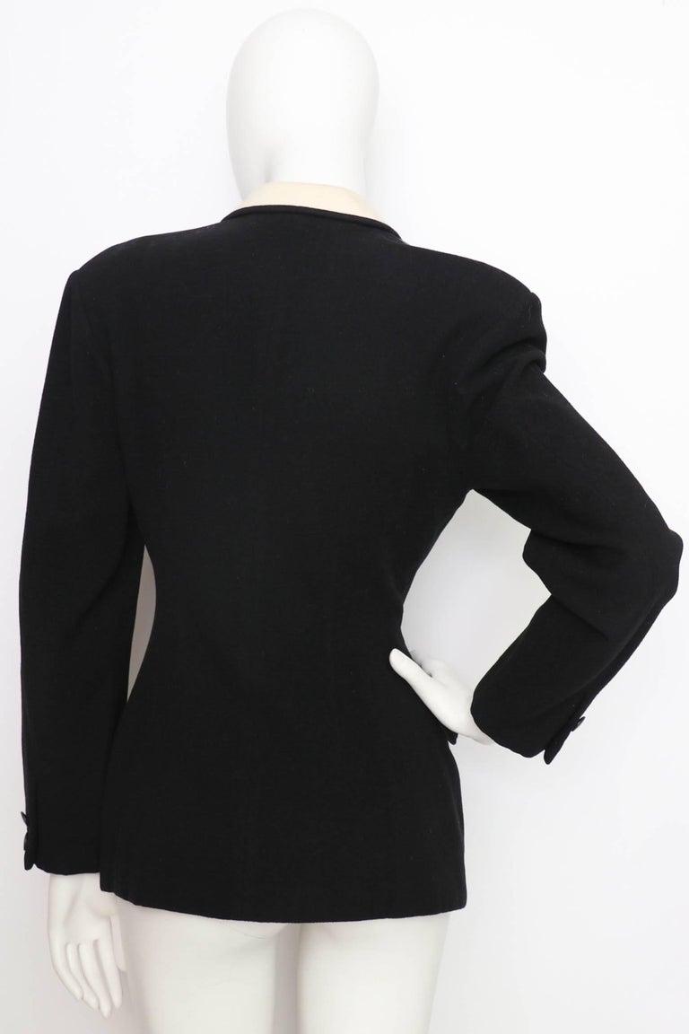 Black A 1980s Vintage Yohji Yamamoto Wool Blazer with Contrast Panels XS For Sale