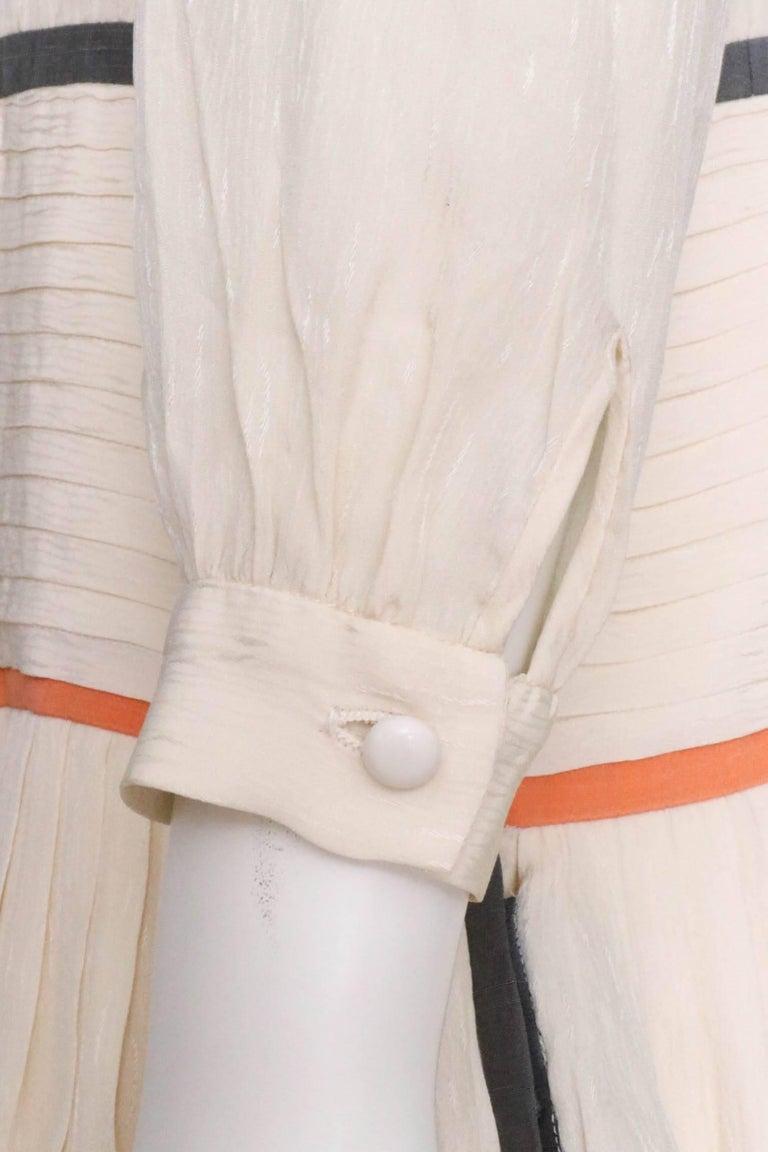Valentino Vintage White Silk Drop Waist Dress, 1980s  For Sale 1