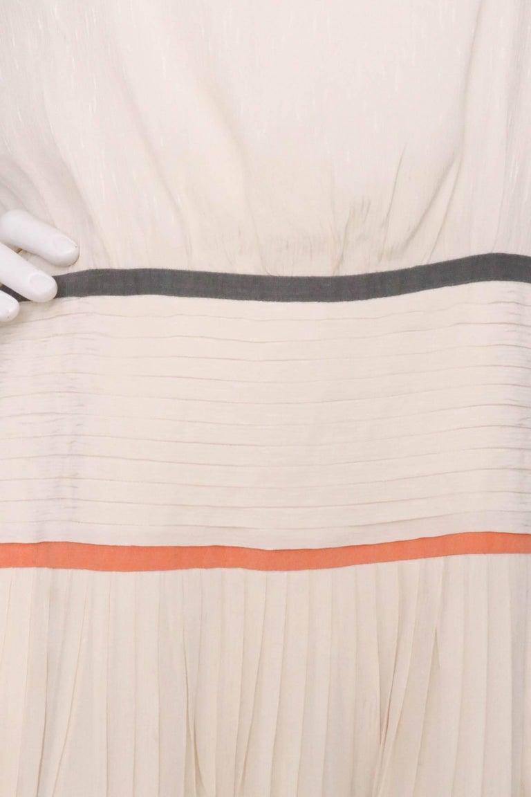 Valentino Vintage White Silk Drop Waist Dress, 1980s  For Sale 2