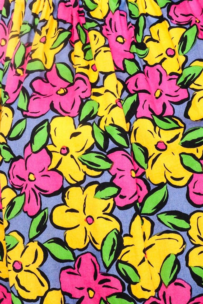 Brown A 1980s Vintage Yves Saint Laurent Floral Cotton Peasant Blouse For Sale
