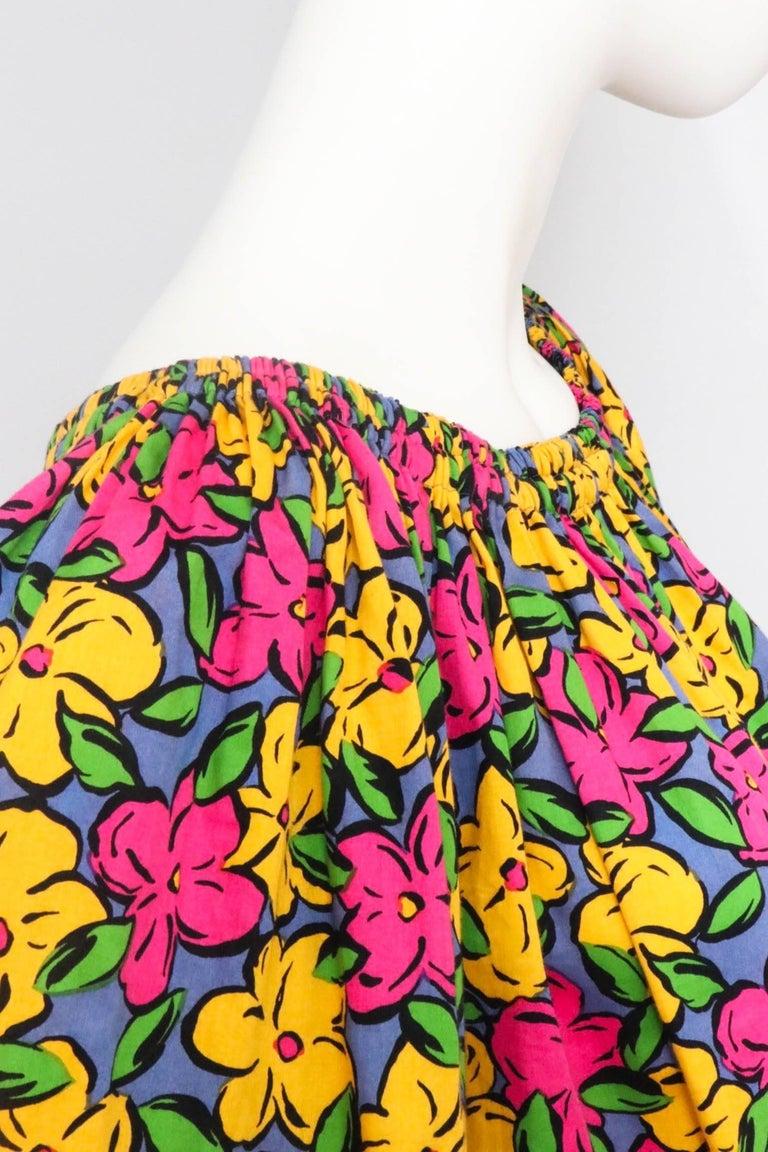 A 1980s Vintage Yves Saint Laurent Floral Cotton Peasant Blouse For Sale 1