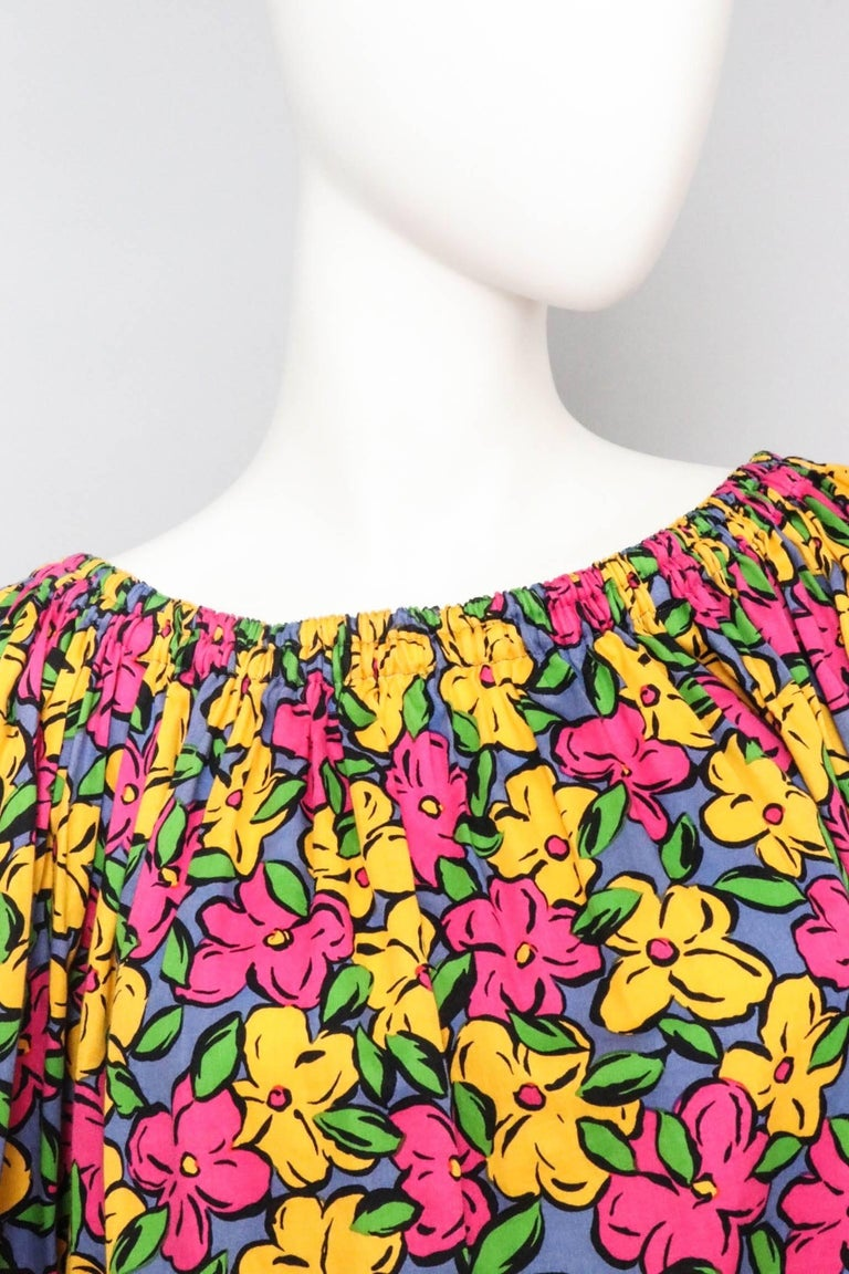Women's A 1980s Vintage Yves Saint Laurent Floral Cotton Peasant Blouse For Sale