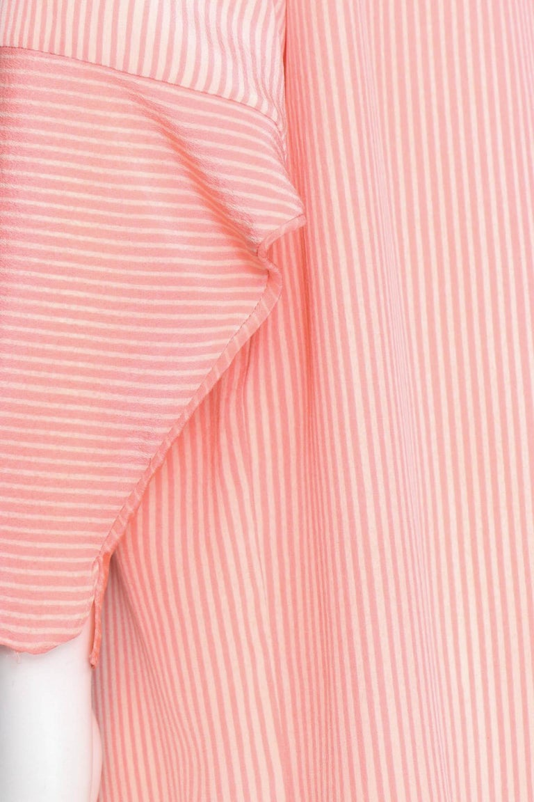 Hanae Mori Pink and White Striped Silk Dress, 1980s  For Sale 2