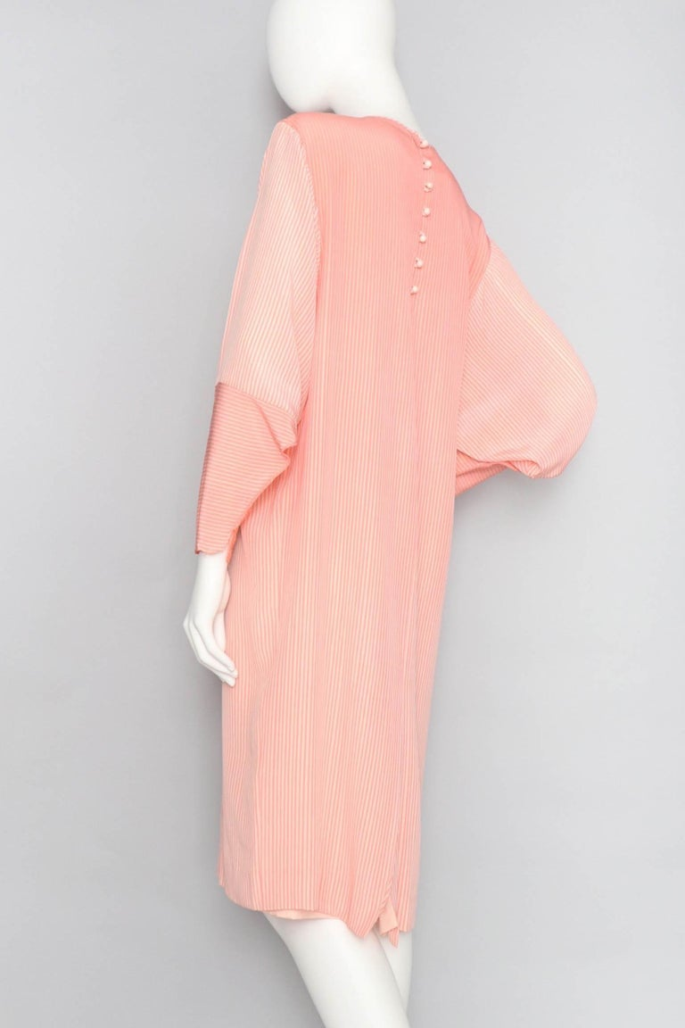 Hanae Mori Pink and White Striped Silk Dress, 1980s  In Excellent Condition For Sale In Copenhagen, DK