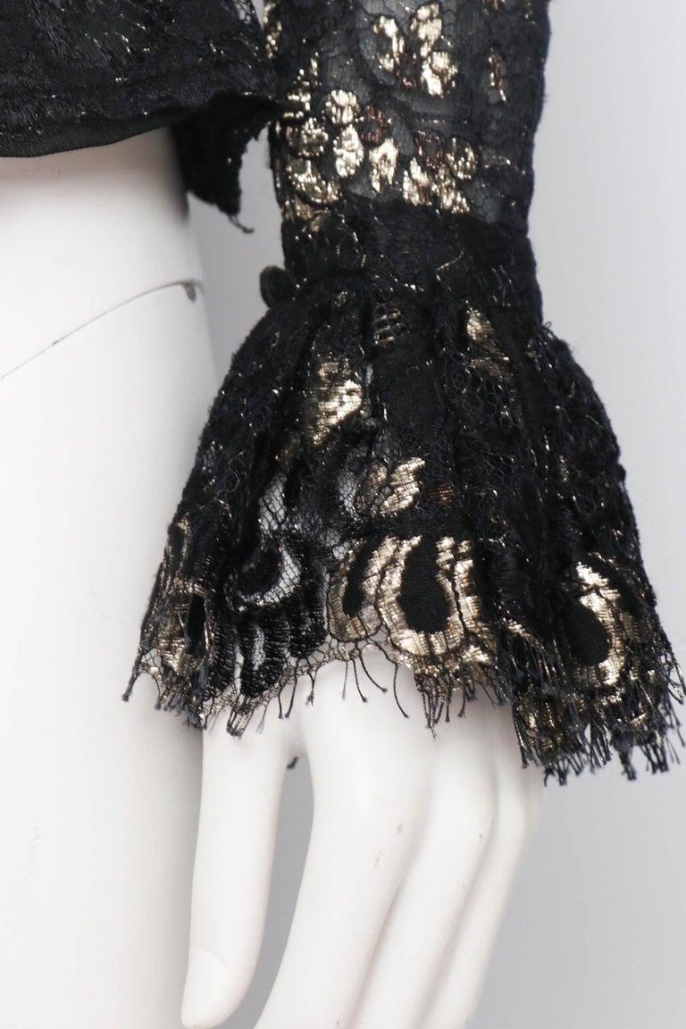 A 1980s Vintage Jean-Louis Scherrer Lurex Floral Lace Blouse  For Sale 2