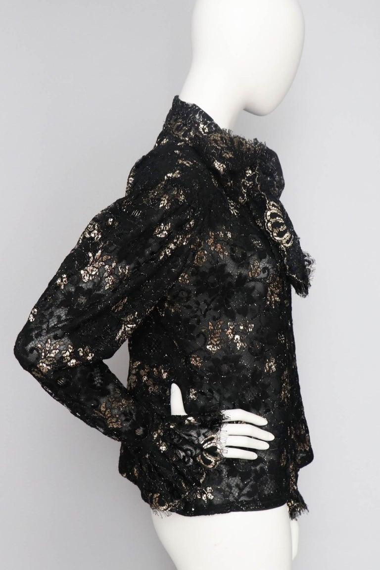 Black A 1980s Vintage Jean-Louis Scherrer Lurex Floral Lace Blouse  For Sale
