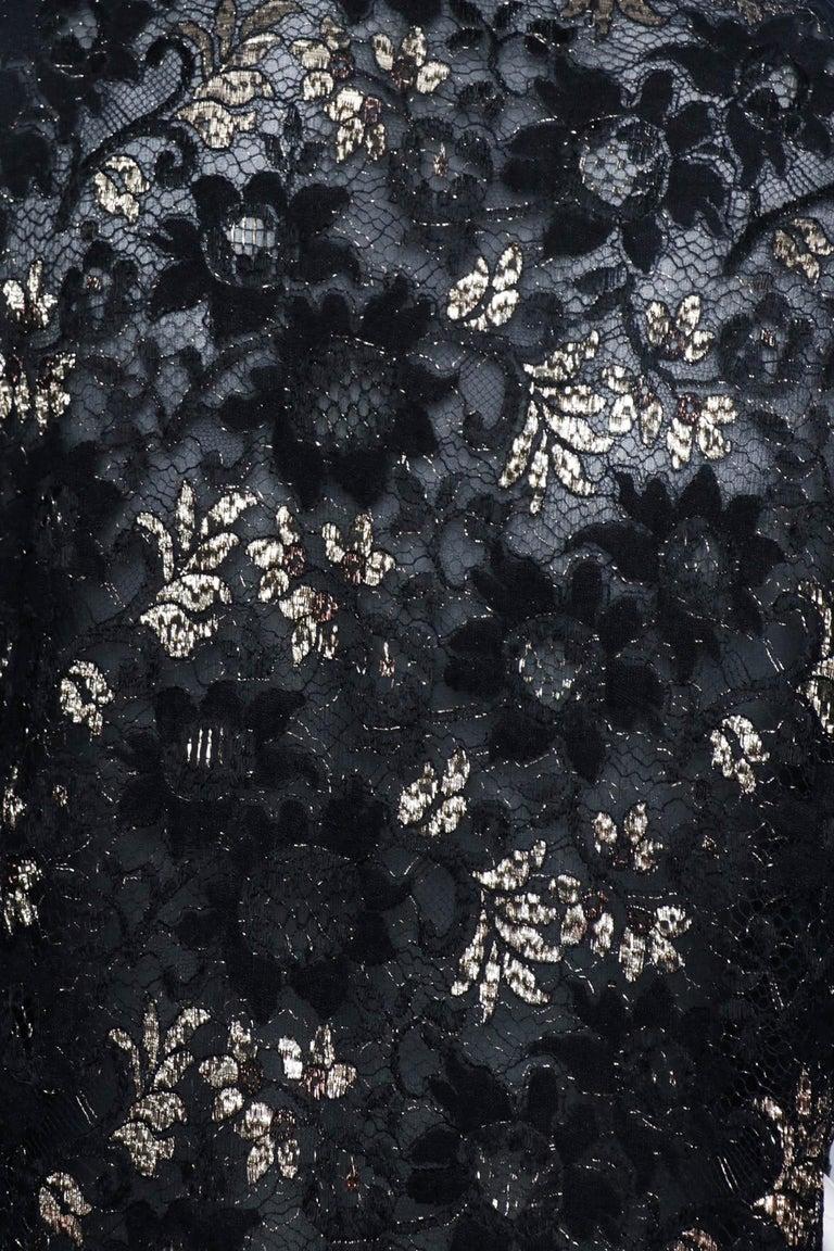 A 1980s Vintage Jean-Louis Scherrer Lurex Floral Lace Blouse  For Sale 3