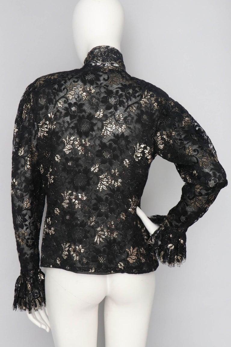 A 1980s Vintage Jean-Louis Scherrer Lurex Floral Lace Blouse  In Good Condition For Sale In Copenhagen, DK