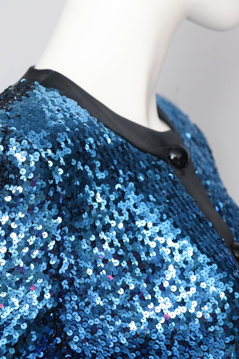 A 1980s Blue Sequin Embellished Yves Saint Laurent Rive Gauche Skirt Suit For Sale 1