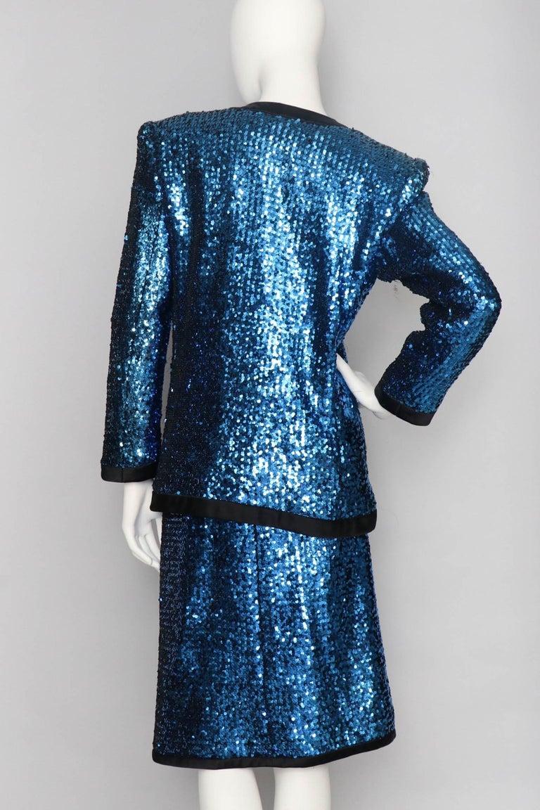 Women's or Men's A 1980s Blue Sequin Embellished Yves Saint Laurent Rive Gauche Skirt Suit For Sale
