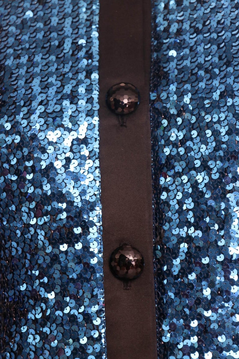 A 1980s Blue Sequin Embellished Yves Saint Laurent Rive Gauche Skirt Suit For Sale 3