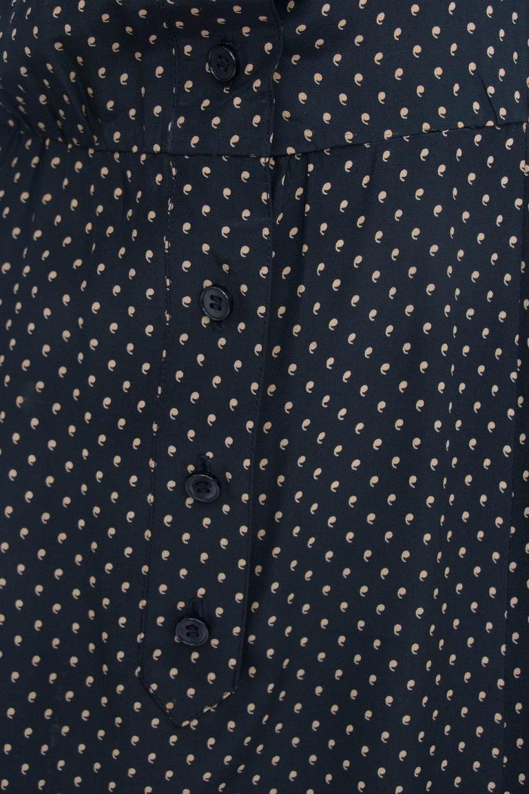A Vintage 1980s Black Printed Yves Saint Laurent Rive Gauche Silk Dress For Sale 3