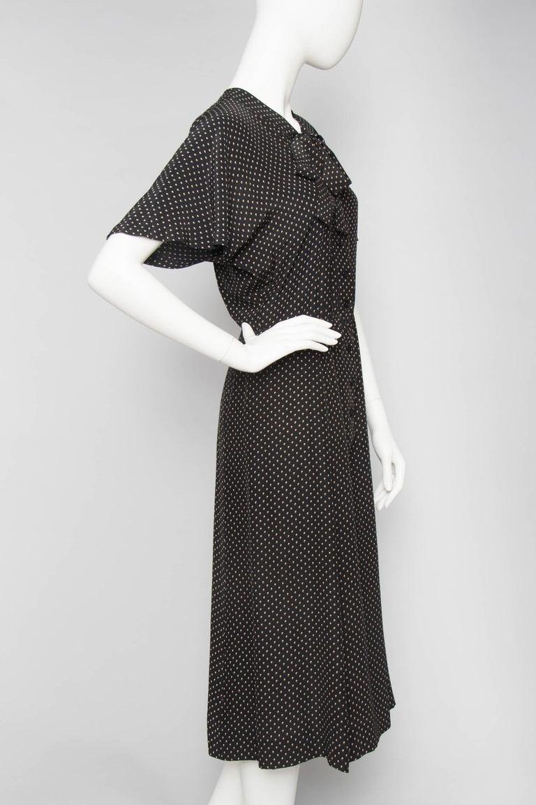 Women's or Men's A Vintage 1980s Black Printed Yves Saint Laurent Rive Gauche Silk Dress For Sale