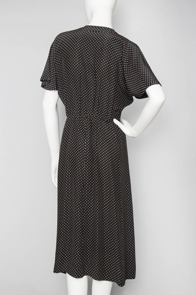 A Vintage 1980s Black Printed Yves Saint Laurent Rive Gauche Silk Dress In Good Condition For Sale In Copenhagen, DK