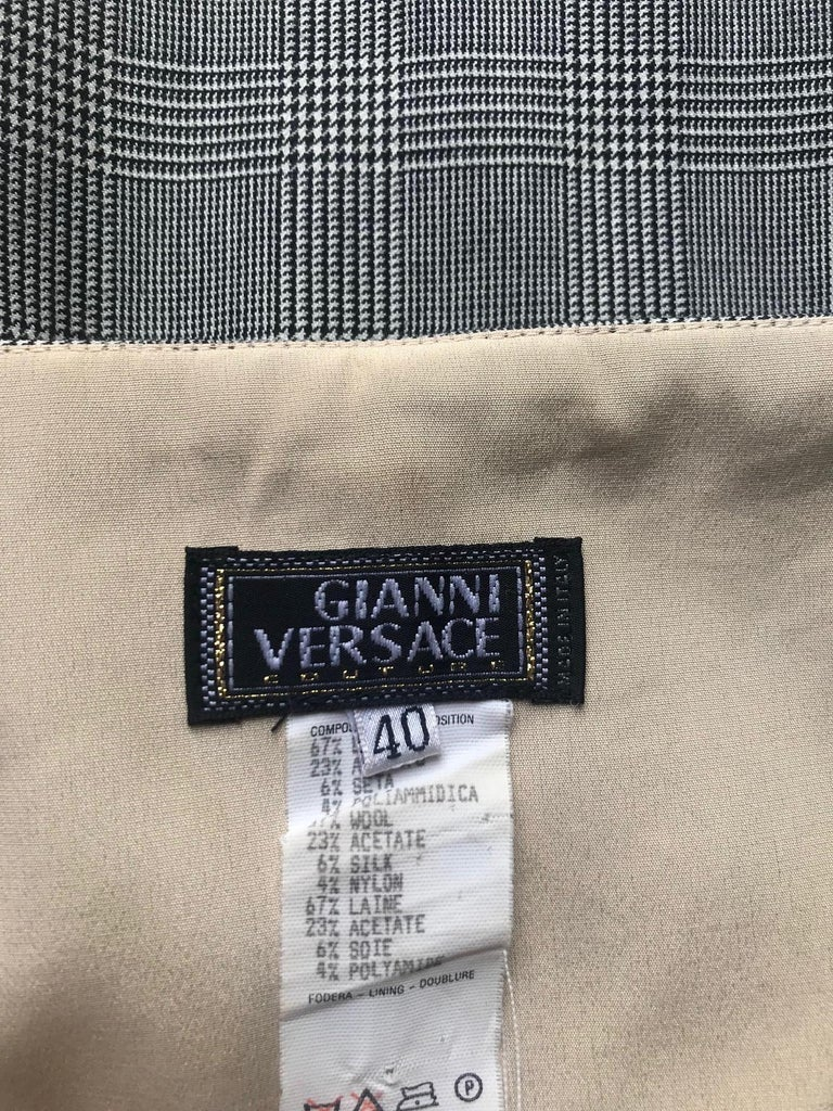 Gray A Spring 1998 Vintage Gianni Versace Houndstooth Plaid Bodycon Dress XS For Sale