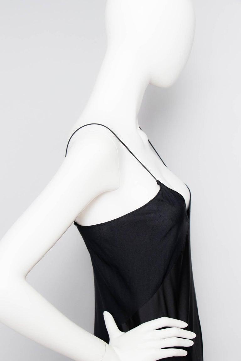 A 1990s Vintage Halston Black Silk Slip Dress S For Sale 2