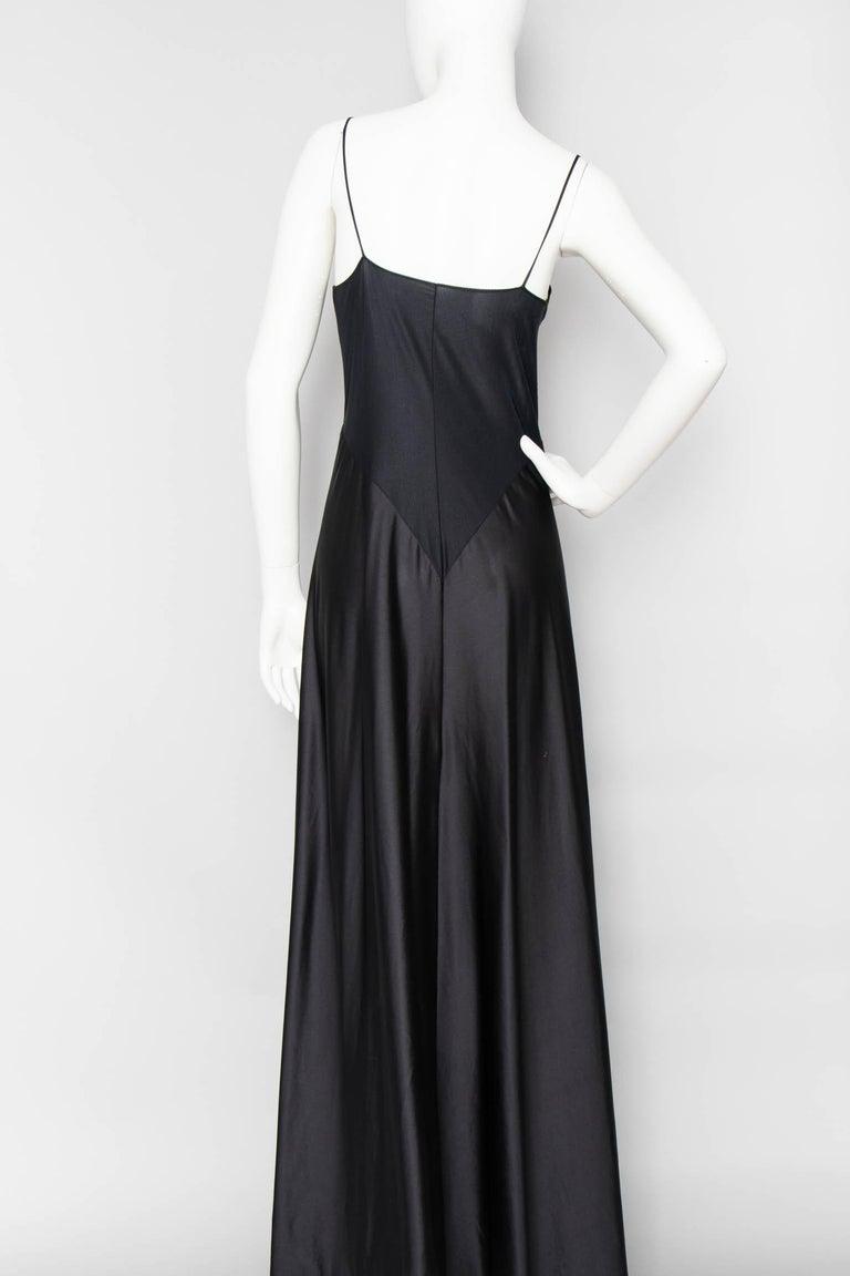 Women's A 1990s Vintage Halston Black Silk Slip Dress S For Sale
