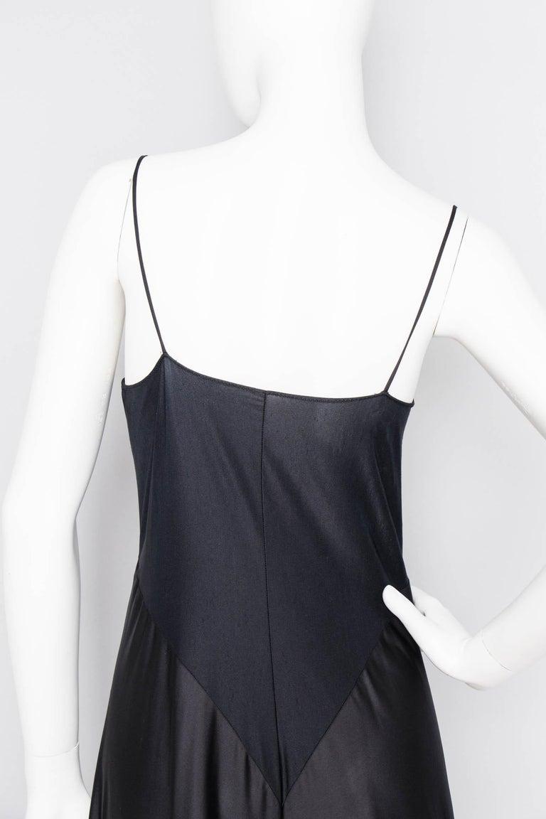 A 1990s Vintage Halston Black Silk Slip Dress S For Sale 3