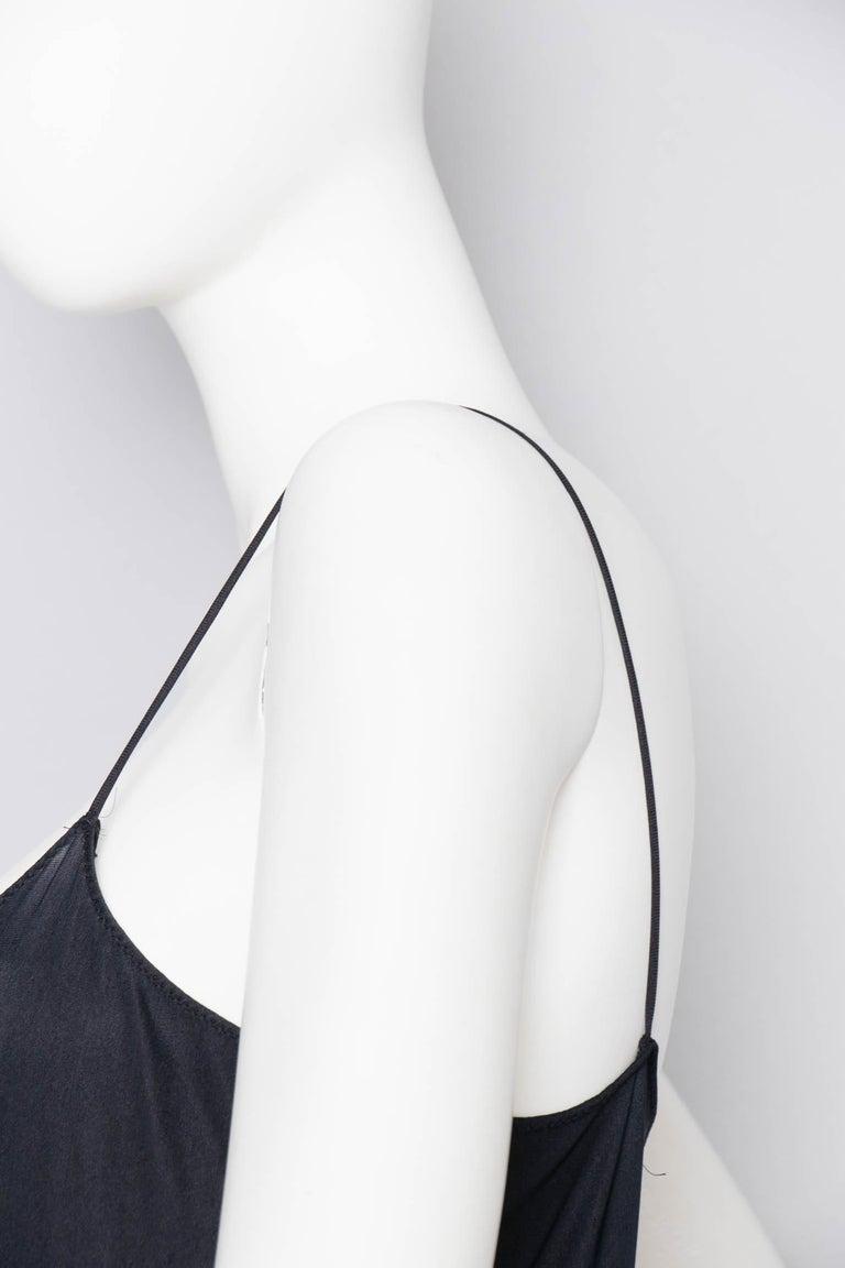 A 1990s Vintage Halston Black Silk Slip Dress S For Sale 4