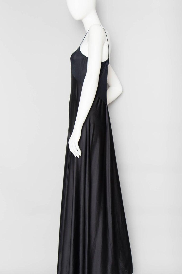 A 1990s Vintage Halston Black Silk Slip Dress S For Sale 1