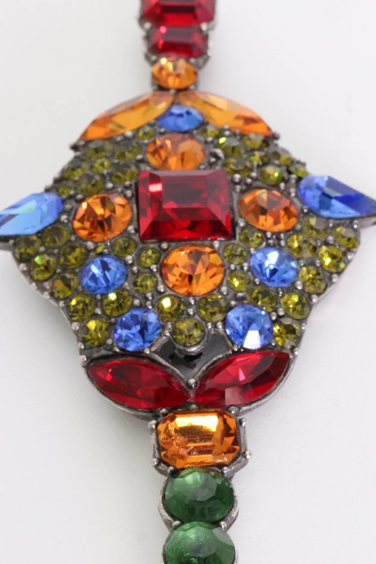A Large 1970s Yves Saint Laurent Multi-coloured Rhinestone Brooch For Sale 3