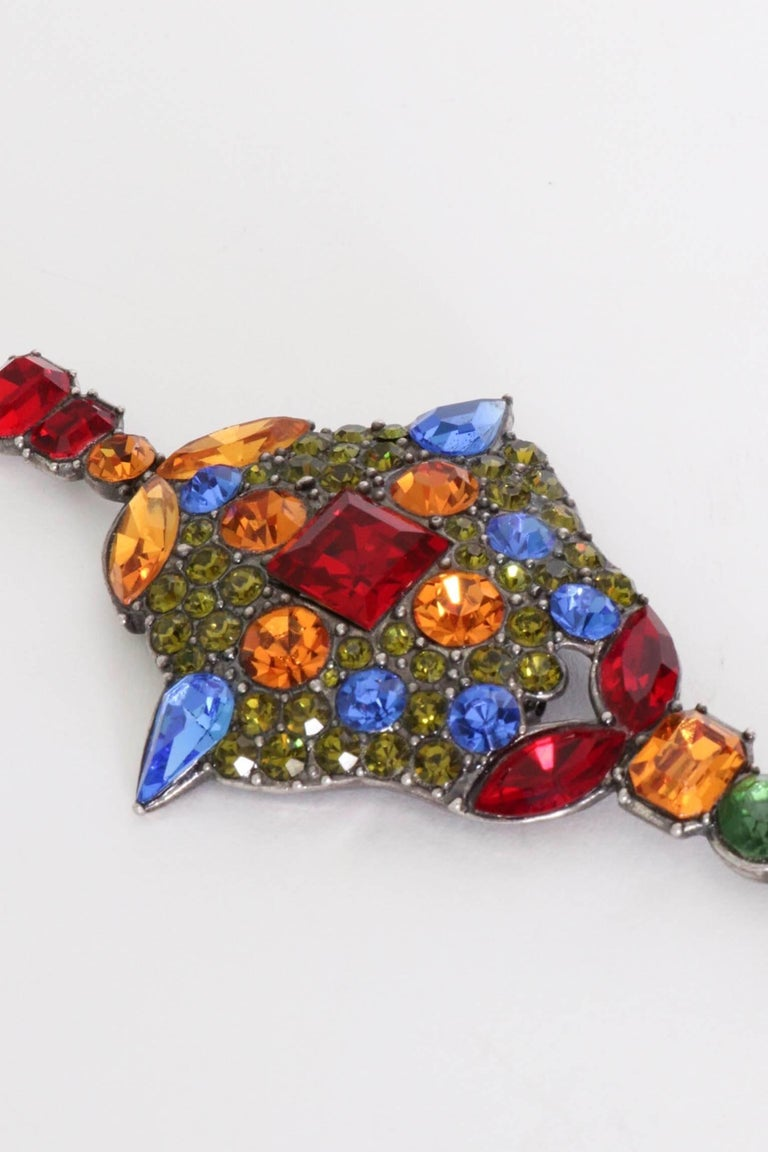 Women's A Large 1970s Yves Saint Laurent Multi-coloured Rhinestone Brooch For Sale