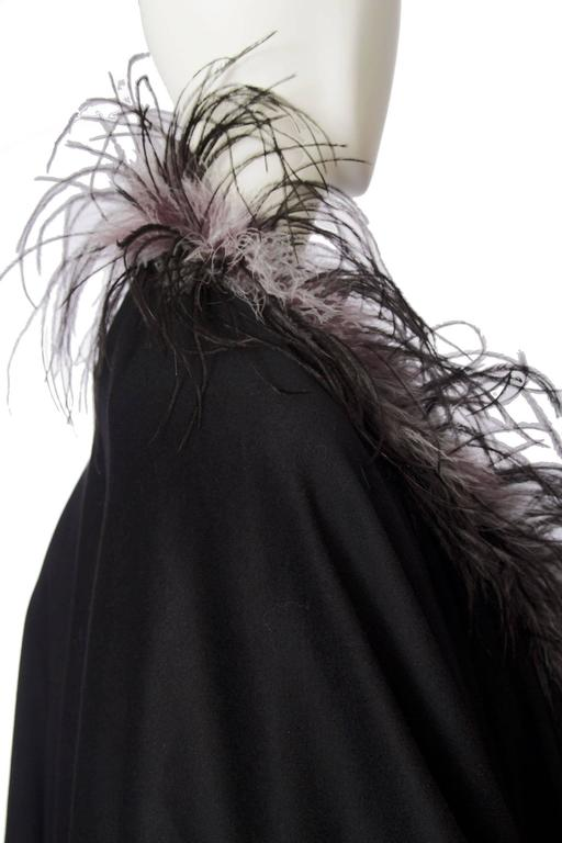 1980s Emmanuelle Khahn Black Wool & Ostrich Feather Cape 6