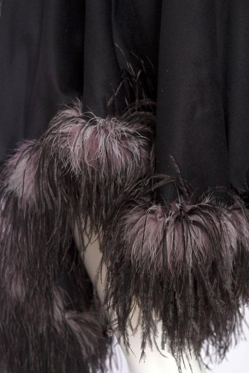 1980s Emmanuelle Khahn Black Wool & Ostrich Feather Cape 8