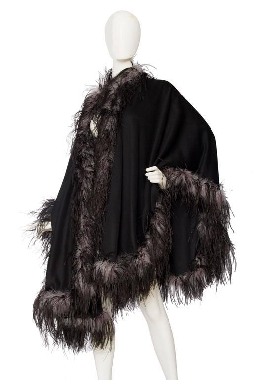 1980s Emmanuelle Khahn Black Wool & Ostrich Feather Cape 2