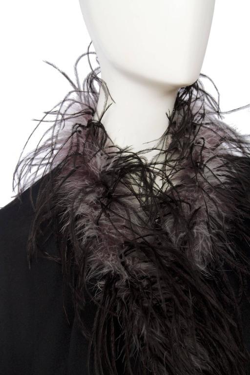 1980s Emmanuelle Khahn Black Wool & Ostrich Feather Cape 7