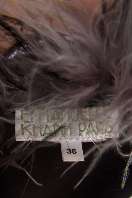 1980s Emmanuelle Khahn Black Wool & Ostrich Feather Cape 9