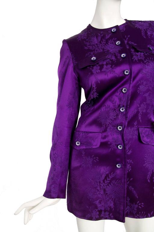 1980s Yves Saint Laurent Purple Jacquard Evening Jacket 7