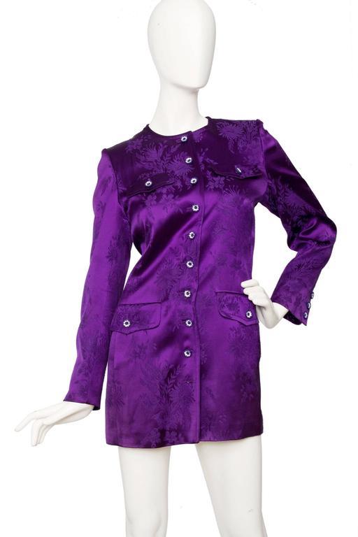 1980s Yves Saint Laurent Purple Jacquard Evening Jacket 3
