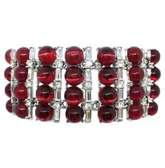 Circa 1960s Red Glass Cabochon and Rhinestone Cocktail Bracelet