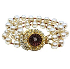 Circa 1960s William deLillo Jeweled Faux-Pearl Bracelet