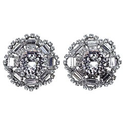 Circa 1960s Crystal Cocktail Clip-Back Earrings