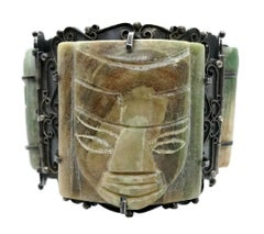 Circa 1930s Mexican Sterling Silver and Green Onyx Mask Bracelet