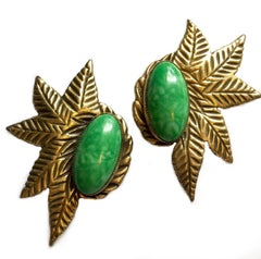 Circa 1930s Large Green Cabochon Dress Clips, Pair