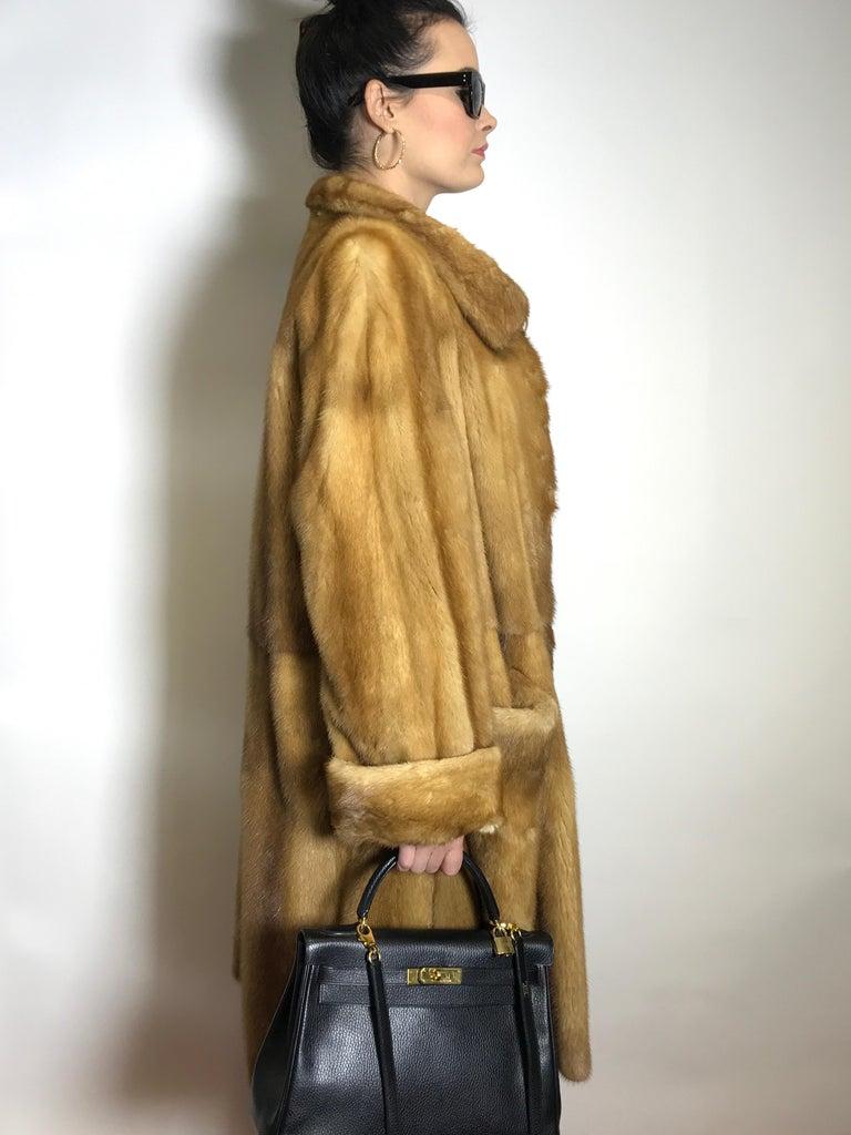 Brown  Saga mink silk fur 3/4 jacket / coat. Tan/beige. Gold mink. (9) For Sale