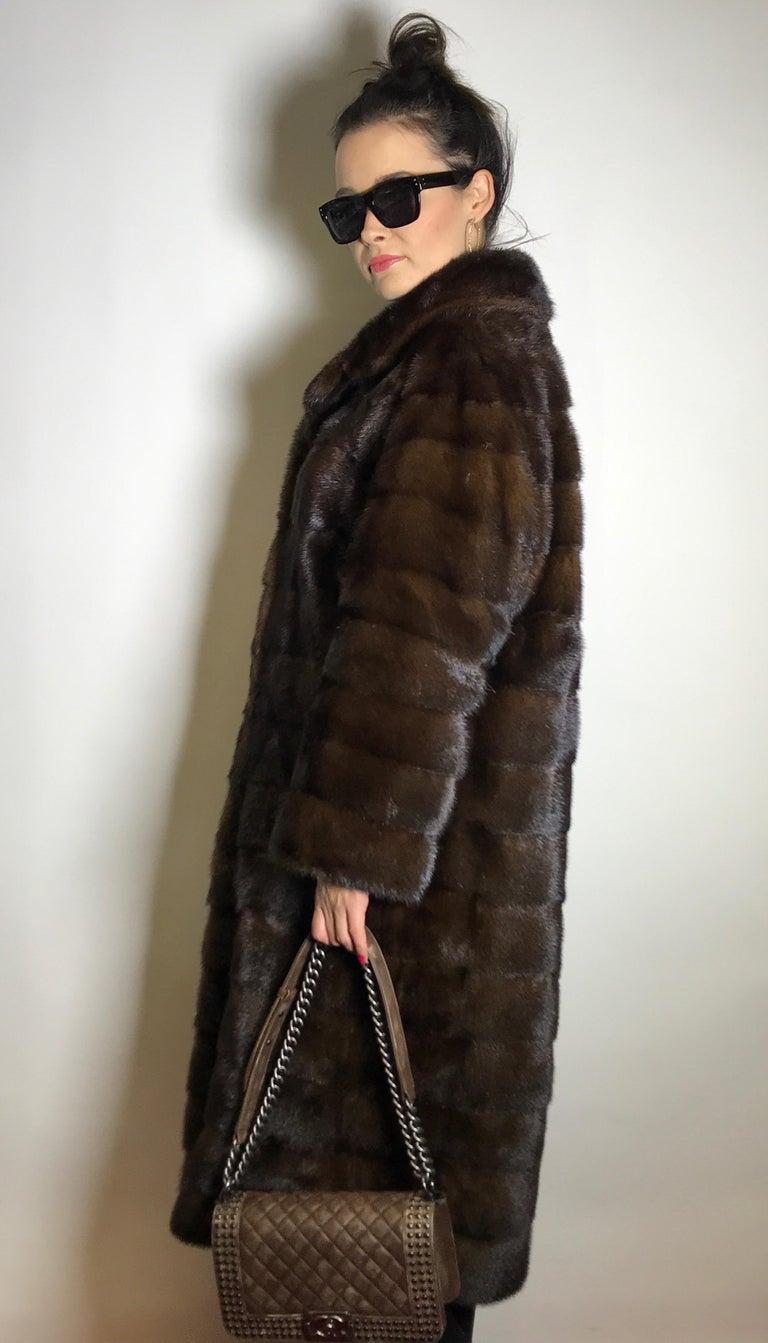 Long mink fur coat. Crosswise cut. Silk mink dark brown (17) For Sale 1