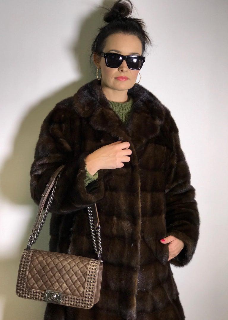 Black Long mink fur coat. Crosswise cut. Silk mink dark brown (17) For Sale