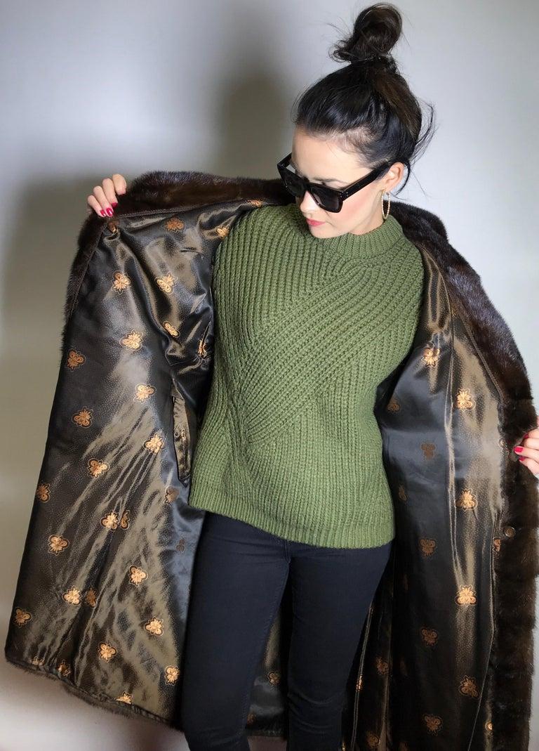 Long mink fur coat. Crosswise cut. Silk mink dark brown (17) For Sale 3