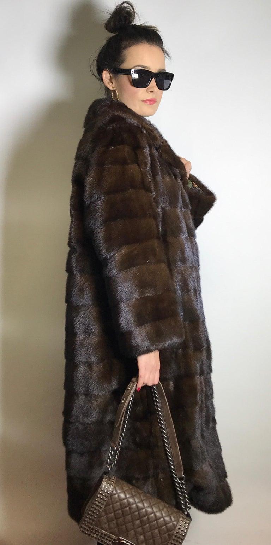 Women's Long mink fur coat. Crosswise cut. Silk mink dark brown (17) For Sale