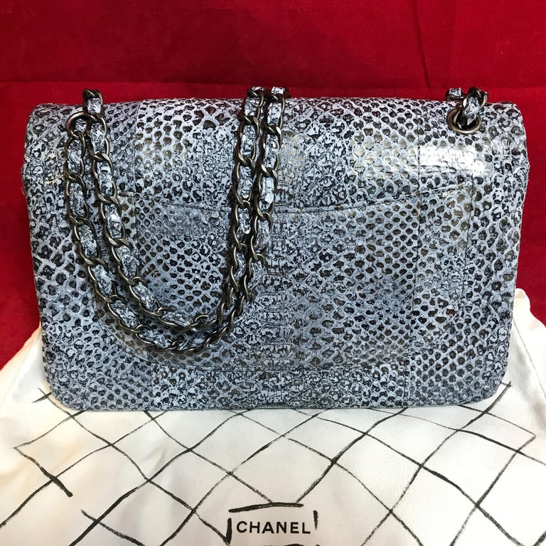 6cb3daaa79f792 Limited CHANEL double flap bag Jumbo python leather shoulder bag 2016 In  New Condition For Sale