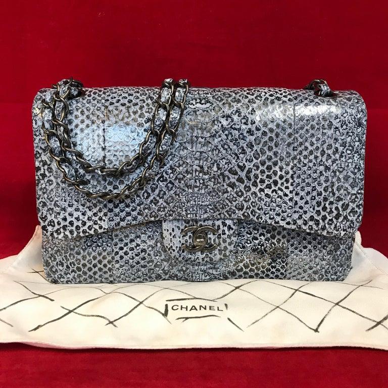 eca322c3fa80 Gray Limited CHANEL double flap bag Jumbo python leather shoulder bag 2016  For Sale